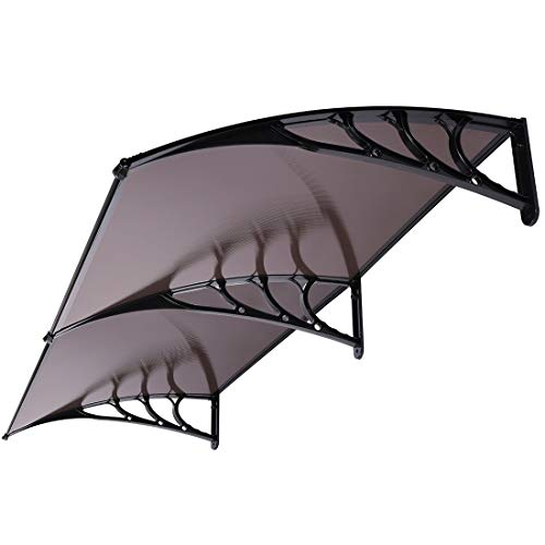 VIVOHOME Polycarbonate Window Door Awning Canopy Brown with Black Bracket 40 Inch x 80 Inch (Patio Doors Aluminum Sliding Frame)