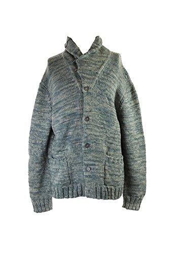 Polo Ralph Lauren Men's Blue Wool-Silk Shawl Button Front Cardigan Small