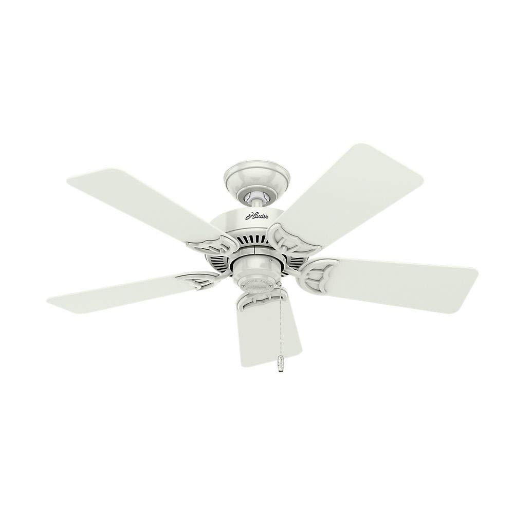 Hunter 51010 Southern Breeze 42-inch White Ceiling Fan with Five White Bleached Oak Blades and Frosted Glass Light Kit