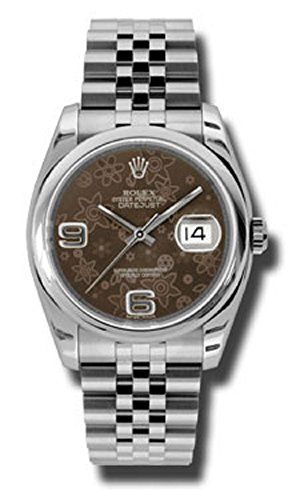 Rolex Oyster Perpetual Datejust 36mm Stainless Steel Case, Screw-Down Crown, Stainless Steel Domed Bezel, Scratch-Resistant Sapphire Crystal With Cyclops Lens Over The Date, Bronze Floral Dial, Arabic 6 And 9 Applied Numerals, Rolex Calibre 3135 Automatic Movement, Stainless Steel Jubilee Bracelet With Five-Piece Links, Concealed Folding Crownclasp Buckle. Waterproof To 100 Meters.
