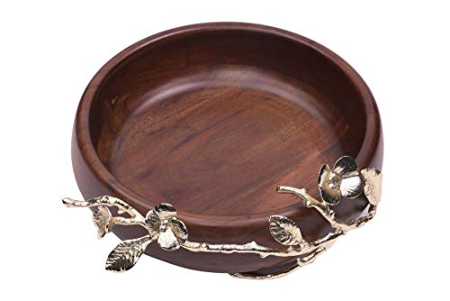 Decozen The Milli Collection Acacia Wood Large Round Bowl Brass Base and Detailing Branch Decoration Smooth Edges Enough Holding Capacity Wood Serving Bowl for Restaurant Café Home Kitchen (Branch Bowl)