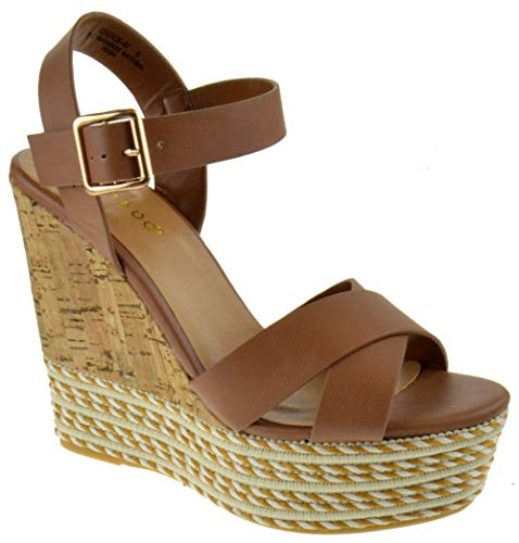 BAMBOO Choice 47 Womens Slingback Buckle Espadrille Wedge Platform Dress Sandals Tan 10
