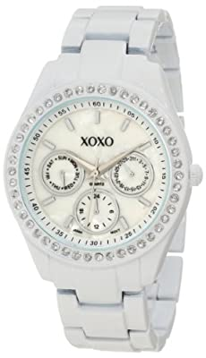XOXO Women's XO114 White Enamel and Rhinestone Accent Bracelet Watch