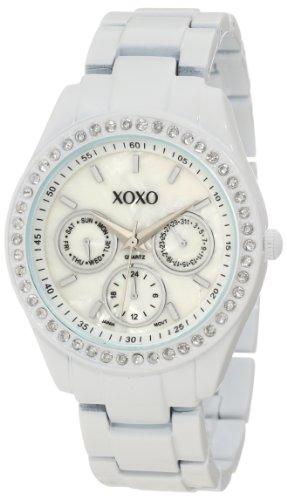 XOXO Women's White Enamel Watch with Studded Rhinestone Accents: XO114