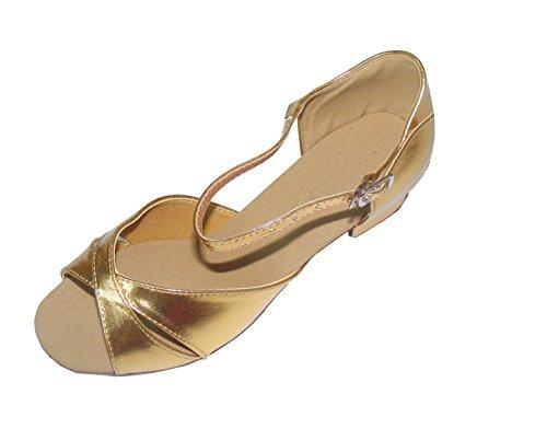 Colorfulworldstore Zapatos de baile latino con una correa dorada de poliuretano Dorado