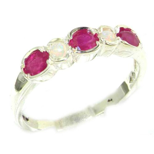 925 Sterling Silver Natural Ruby and Opal Womens Eternity Ring Sizes 4 to 12 Available