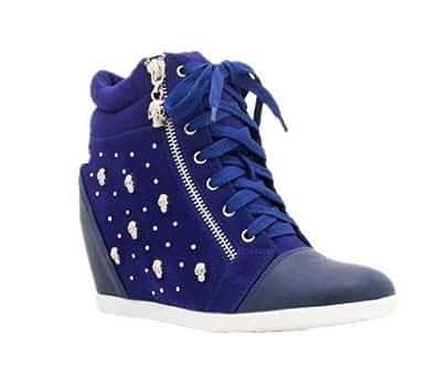 Skull Studded Hi-top Wedge Lace-up Sneaker (6, Cobalt Blue)