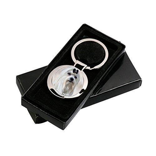 Bichon Maltais Porte-clés dans l´emballage cadeau.