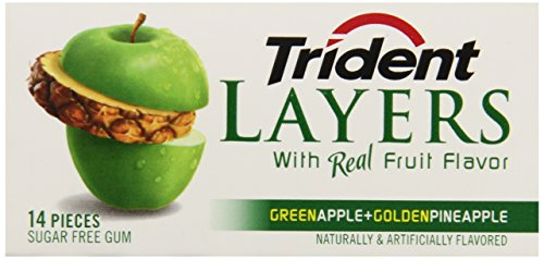 Trident Layers Gum, Green Apple + Golden Pineapple (3-Pack), 14-Piece Packs (Pack of 5) by Trident