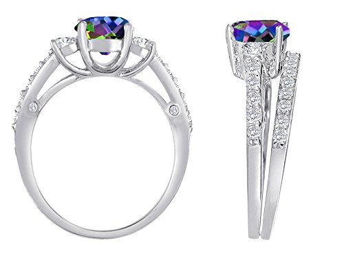 Star K Round Rainbow Mystic Topaz Engagement Wedding Set Size 7
