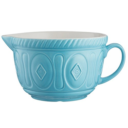 Mason Cash Color Mix Ceramic Batter Bowl; Large Enough to Whisk and Mix Ingredients; Pouring Lip and Handle; 8-Cups/Half Gallon; 10-1/4-Inches by 7-3/4-Inches by 5-Inches; Turquoise