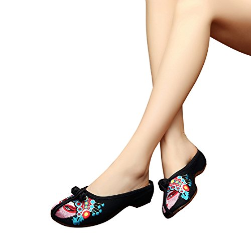 BININBOX Linen Women Chinese Style Hibiscus Embroidered Casual Flat Slippers Black agYfURLMJr