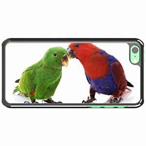iPhone 5C Black Hardshell Case couple parrots male female background Desin Images Protector Back Cover