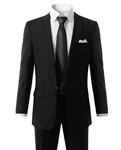 MONDAYSUIT Men's Modern Fit 2-Piece Suit Blazer Jacket & Trousers BLACK 50R 45W by MONDAYSUIT (Image #2)