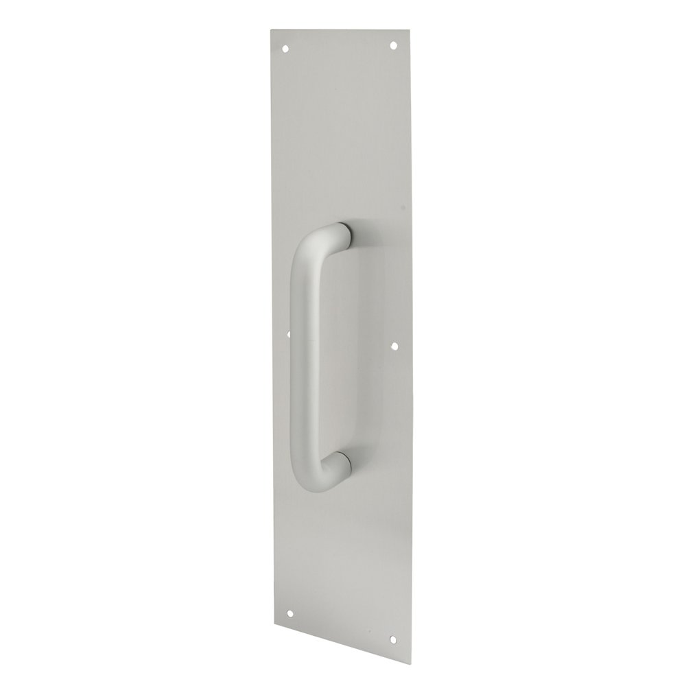 Prime-Line Products J 4640 Door Pull Plate with Round Handle 4-Inch x 16-Inch Satin Aluminum