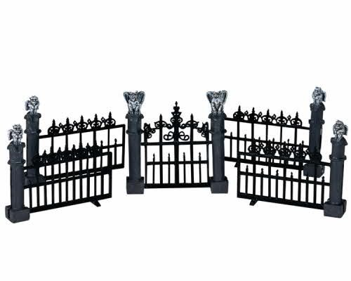 Lemax Spooky Town Halloween Gargoyle Fence (Set of 5) (Spooky Decorations For Halloween)