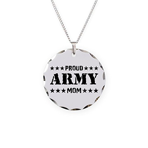 CafePress - Proud Army Mom [V] - Charm Necklace with Round Pendant ()