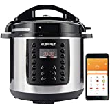 KUPPET 10-IN-1 Smart WiFi Multi-use Electric Pressure cooker, 6 Qt Programmable Multi Cooker, Rice Cooker, Slow Cooker, Steamer, Saute, Warmer, Bluetooth and WiFi, 1000W, Stainless Steel