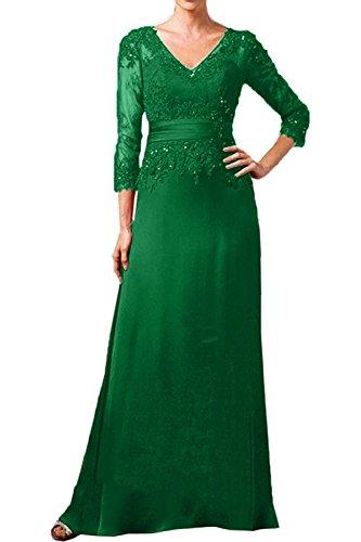 Lang Ausschnitt Brautmutterkleider Rot Grün Linie Charmant Langarm Rock Dunkel A Abendkleider Ballkleider Damen V qgRxzX1