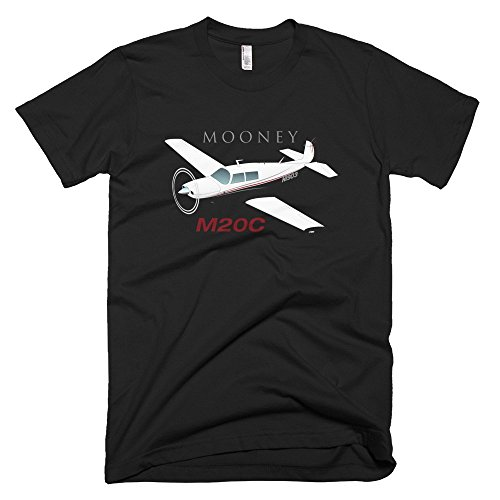 Mooney M20 / M20C Custom Airplane T-shirt- Personalized with N# Black / XL - Mooney Airplane