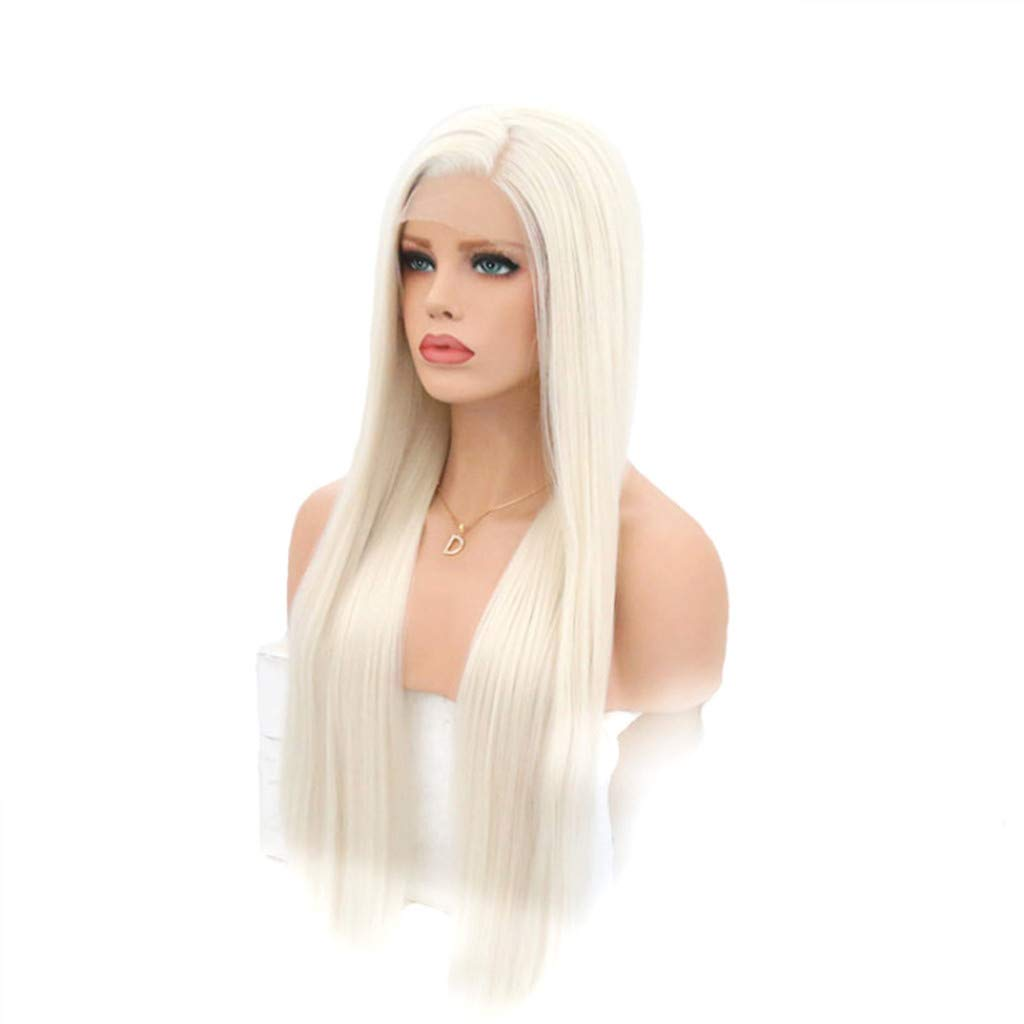 JYS 26 Inches Women Special Natural Long Straight Side Bangs Synthetic Wig Long Straight White Wigs Ladies Women's Full Head Cosplay Anime Costume Party Wig Halloween (White) by JYS (Image #1)