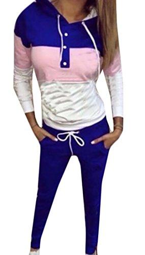 UUYUK Womens Two Piece Contrast Hoodie Sweatshirt Sweatpant Set Tracksuit Blue US (2 Piece Sweatpants)