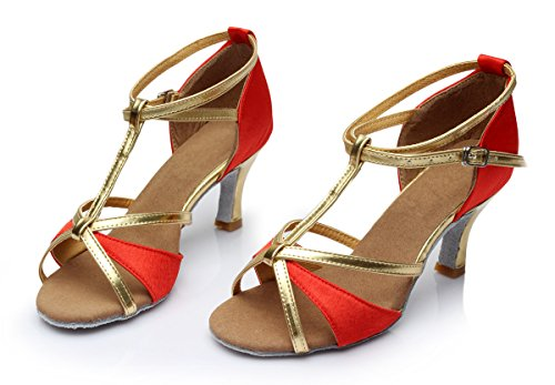 ShangYi Latin shoes women's soft bottom with square dance shoes Latin shoes female adult high-heeled, with height 5cm red