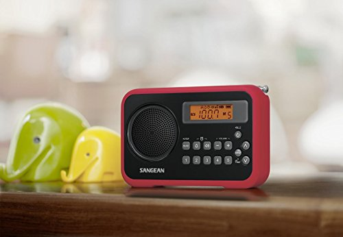 Sangean PR-D18RB AM/FM/Clock Portable True Digital Radio with Protective Bumper (Black/Red Limited Edition)