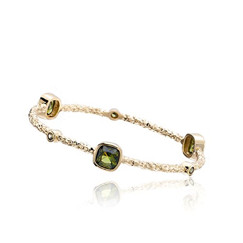 Riccova Arctic Mist 14k Gold-Plated Bangle With Lime Squares 65 mm
