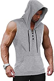 COOFANDY Men's Workout Hoodie Tank Top Sleeveless Gym Hooded Cut Off Shirt Lace-up Bodybuilding Muscle T S