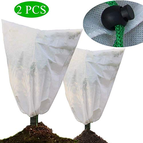 ZROSIN Pack of 2 Plant Covers Freeze Protection Bags, 47″×55″ Heavy Duty Winter Shrub Cover Warm Worth Frost Protection Cover Blanket & Jacket with Breathable Fabric – White