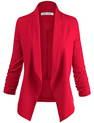 Luna Flower Women's Solid Color3/4 Cinched Sleeve Open Front Blazer Jackets