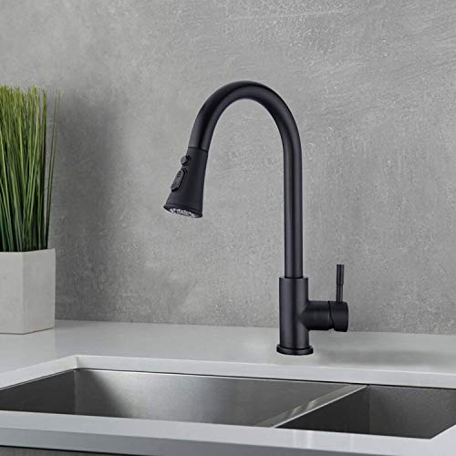 AILRINNI Kitchen Taps with Pull Out Sprayer, Single Handle High Arc Pull Out Kitchen Mixer Tap, 360 Rotating Single Lever Kitchen Sink Taps Faucet, Matte Black