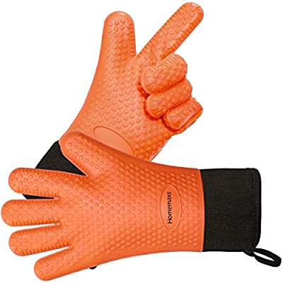 Homemaxs BBQ Grilling Gloves, Waterproof Heat Resistant Grill Gloves, Food Grade Kitchen Oven Mitts, Silicone Non-Slip Cooking Gloves for Barbecue, Cooking, Baking