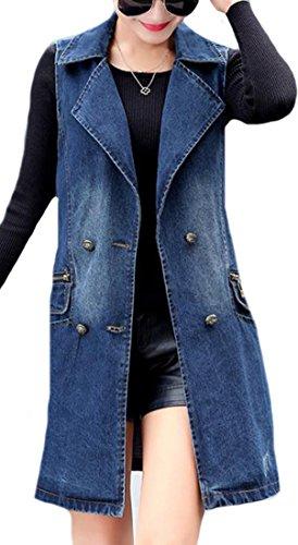 (XiaoTianXin-women clothes XTX Womens Classic Loose Sleeveless Button Long Jean Denim Vest Navy Blue Large)