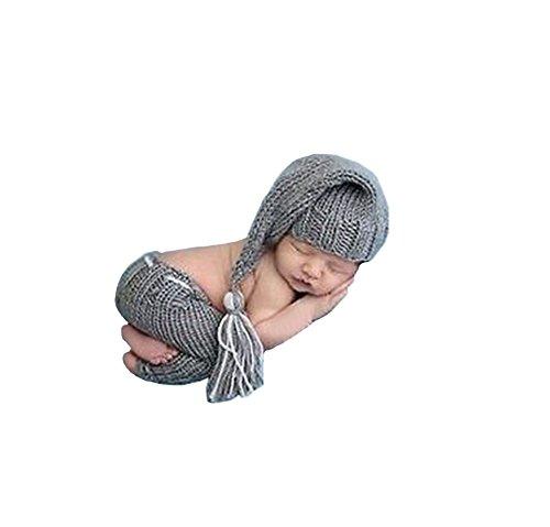 CX-Queen Baby Photography Prop Crochet Grey Tassels Elf Night Cap Hat Pants
