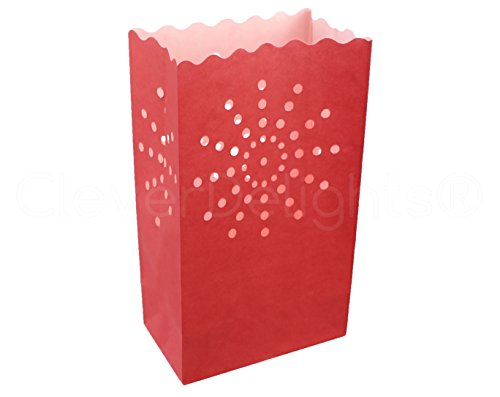 10 Pk - CleverDelights Red Luminary Bags -
