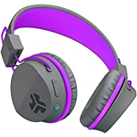 JLab Audio Neon Bluetooth On Ear Headphones, Folding with Universal Mic - Gray/Purple