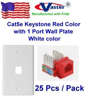 3 Pcs Cat5e Punch Down Keystone Jack RED Color Vastercable Ivory Color with 3 Port Rj 45 Keystone Wall Plate