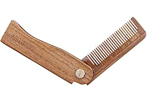 1. Folding Sandalwood Pocket Comb for Hair and Beard by HaWaTour