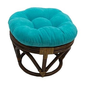 International Caravan 3301-MS-AB-IC Furniture Piece Rattan Ottoman with Micro Suede Cushion