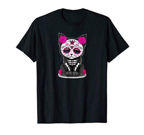 Sugar Skull Cat T shirt Day Of The Dead Halloween Shirt]()