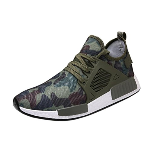 Price comparison product image Hot Sales Men's Athletic Shoes Haoricu Men Fashion Camo Outdoors Shoes Casual Sneakers Boys' Running Breathable Sports Shoes (US:8.5,  Green)