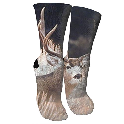 New Large Mule Deer Big Antler Rack Animal Fashion Stylish Knee High Socks for Women and Men-Fitness Novelty Crew Athletic Socks Comfortable Knee High Sock