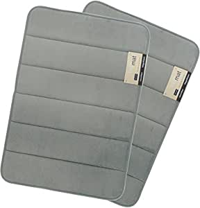 Magnificent 17 X 24 inch Memory Foam Bath Mat, Soft, Non-slip, High Absorbency - 2 Pack (Grey)