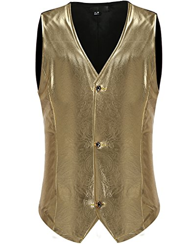 ZEROYAA Mens Night Club Metallic Single Breasted Paisley Suit Vest/Tuxedo Costume Waistcoat Z46 Gold X Large by ZEROYAA