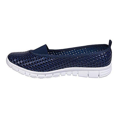 Holees Ballerine Sport Confortable - Chaussures Eté (Bleu Marine - Blanc)