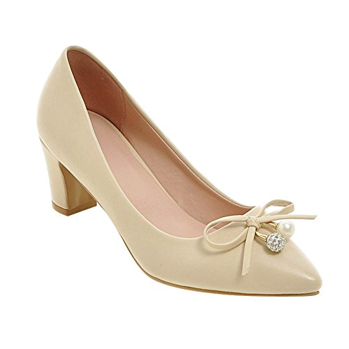 Charme Pied Femmes Mode Chunky Talons Robe Pompes Beige