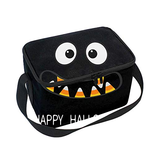 Happy Halloween Scary Faces Lunch Bag for Women and Kids, Reusable Soft Lunch Tote for Work and School]()
