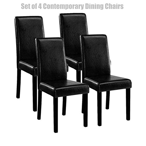 Koonlert@Shop Classic Contemporary Design Dining Chairs Durable Half PU Leather Sturdy Wooden Frame Comfortable High Density Padded Cushion Sturdy Home Office Furniture - Black Set of 4#1264 (Chairs Dining Leather Costco)